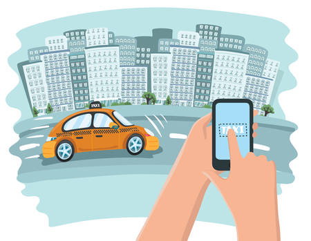 Picture of a taxi cab, mobile phone with map and big city on background, taxi service concept, flat style illustration