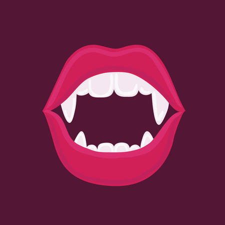 Vector cartoon funny illustration of sexy red vampire woman open mouth with fangs Vector comic design element dark background.