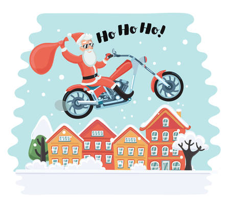 Vector cartoon funny illustration of Santa Claus on motorbike with a bag of gifts in hands flying on the sky above town house. Snowy landscape. Motorcyclist in sunglasses say Ho Ho Ho!