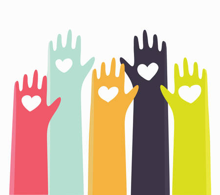 rate: Vector cute cartoon illustration of different colors raised hands of people with hearts. Illustration