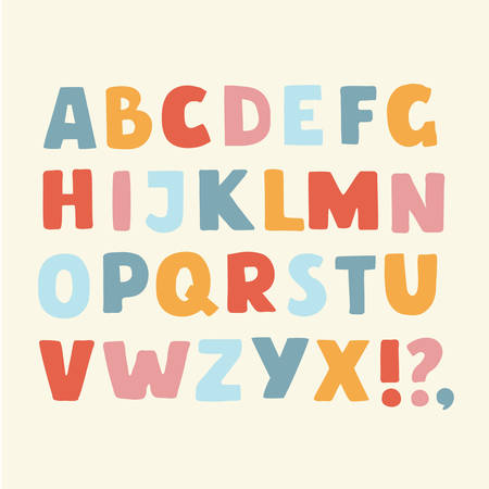 Vector cartoon funny alphabet color set of colorful cute bold latin alphabet Illustration