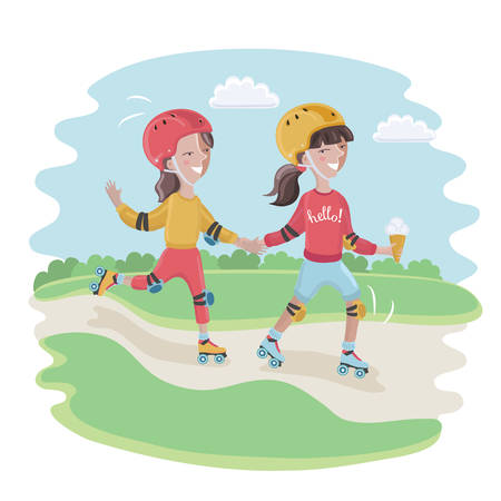 Vector cartoon funny cute illustration of boy and girl, wearing a helmet, knee pads, elbow pads is roller-skate Illustration