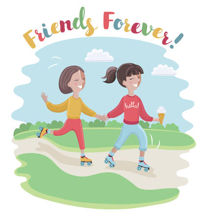 Vector cartoon funny illustration of girl learn to ride the rollers her friend in a park Illustration