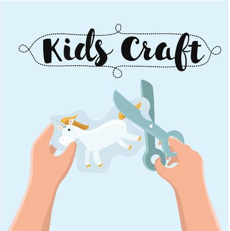Vector illustratie van close-up kinderen handen snijdt met een schaar het toepassingsdocument van eenhoorn. Kinderambachten, workshop, educatie, crativity