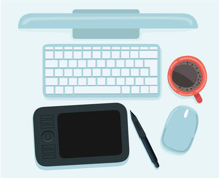 Vector illustration of modern creative office workspace, workplace of a designer. The office of a creative worker. Mouse cup of coffee