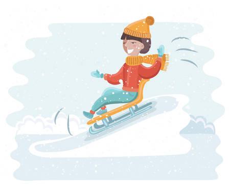 Vektor-Cartoon lustige Illustration der Mädchen Schlittenfahren auf dem Schnee. Winterspaß in schneebedeckter Landschaft
