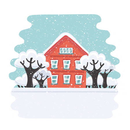 Vecrtor cartoon illustration of red winter house. Family suburban home. Trees an bushes in the snow. It is snowing outside. Snowy landskape