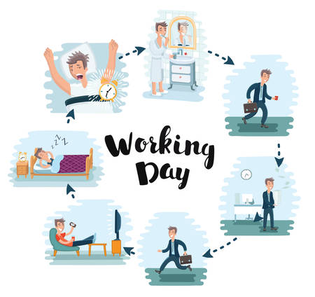 career timing: Vector cartoon illustration of man working day in office. Office worker works and rests after work