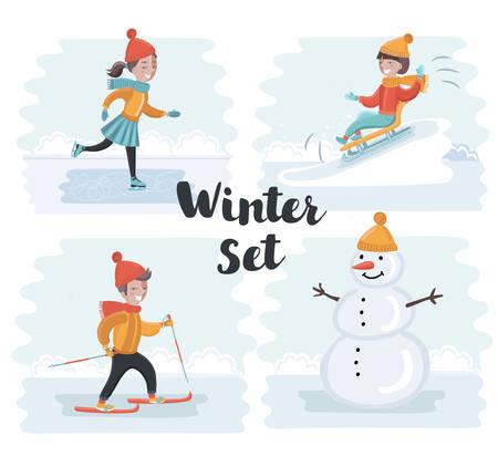 Vector cartoon funny sen of scene illustrations of winter holidays. Skiing, skating girl, snowman, sledding. Winter kids fun on snowy outdoor landscape Illustration