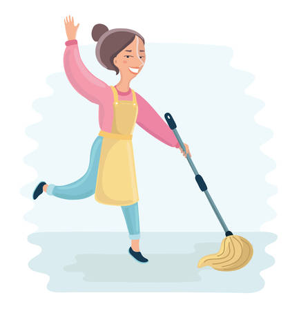 homemakers: Vector cartoon funny illustration of Woman dancing with mopping for Floor