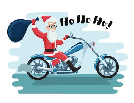 Vector cartoon illustration of Santa Claus motorcyclist in sunglases say Ho Ho Ho! Ilustração