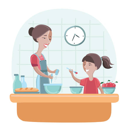 Illustration of a Mother and Daughter Cooking Food Together