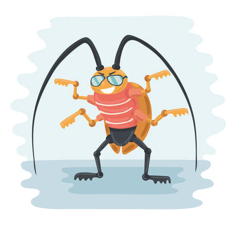 disgusting animal: Vector funny illustration of cartoon cockroach in sunglasses