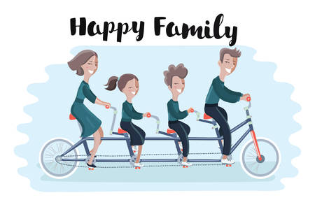 Vector illustretion of happy family riding a tandem bicycle. Vector illustration. Son and doughter. mother and father.