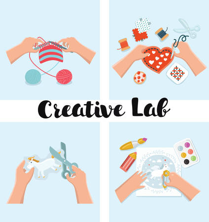 Vector set of illustration of Kids Art-working process. Top view with creative hands. Banner, flyer for kids art lessons or school. Knitting, sewing, embroidery, drawing, painting, crafts