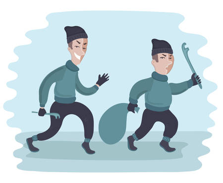 Vector cartoon funny illustration of two suspicious men carry crowbar and a sack. Two guys are stealing. Thieves. Illustration