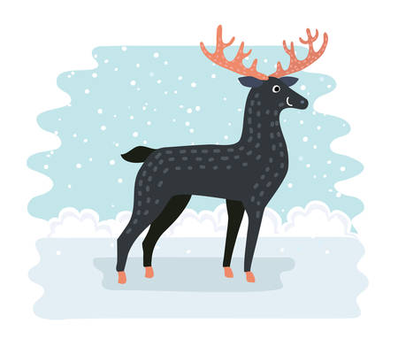 Vector illustration of cartoon funny cute smiling deer on winter snowy landscape background Illustration
