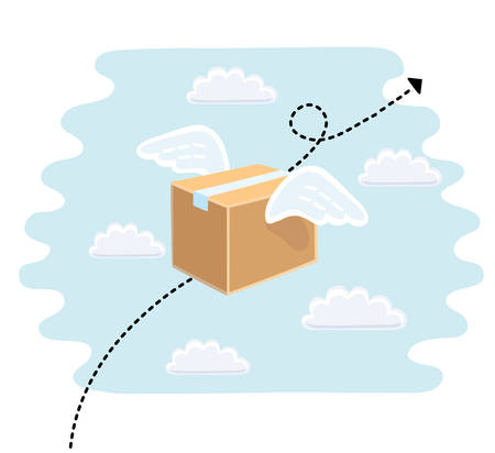 Fast delivery service flat vector illustration. Parcel with wings flies in sky among clouds. Illustration