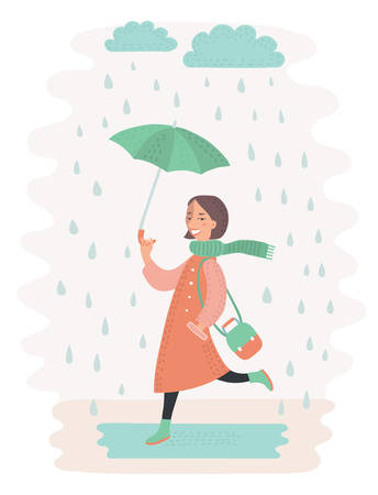 sad little girl: Vcetor illustration of cute vector girl walking in the rain with umbrella Cloud and puddle Illustration