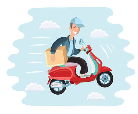Vector cartoon illustration of courier rides on scooter. Fast delivery. Man fly in the sky with box, packige
