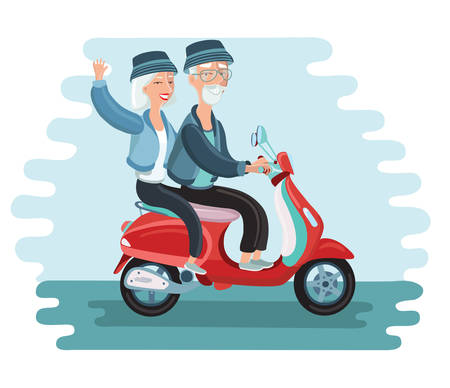 Vector cartoon illustration of old people driving scooter vector illustration modern old people lifestyle - happy, smiling, active, traveling