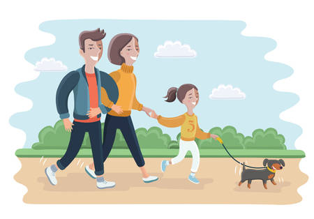 Vector cartoon illustration of a family walking in park with Their Dog. Father, Mother and daughter outdoor