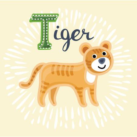Vector illustration of tiger. T letter. Funny cartoon cute children animal in vector.