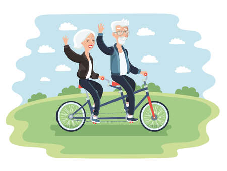 Vector illustration of elderly couple riding a bicycle in a park Фото со стока