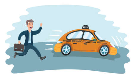 Vector cartoon funny illustration of businessman in a hurry for the departing taxi car.