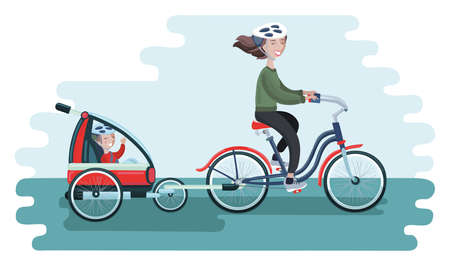 Colorful vector cartoon illustration of young Woman riding a bicycle with her cute Baby in bike trailers for kids and babiest. Vector illustration for Mothers Day celebration. People in helmet