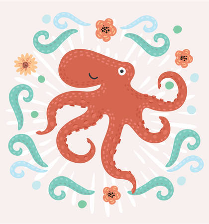 moray: Cartoon vector funny illustration of cute smiling octopus decorated with marine elements in vintage style