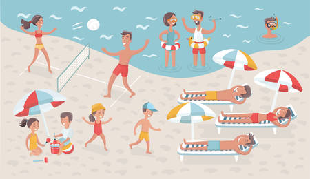 Vector cartoon funny illustration of scene of people relax on the beach. Scene vacation on seacoast. Children and adults: sport, voleyball, swimming and take sunbath, playing in the sand and diving Illustration