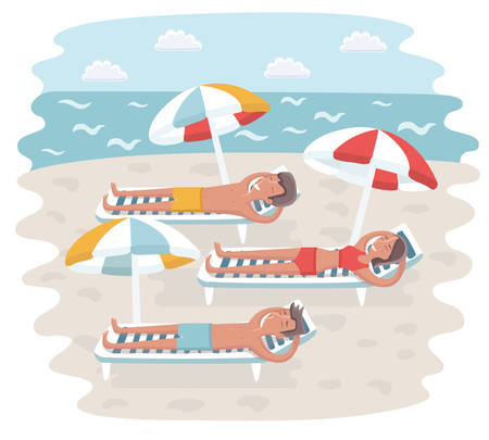 Vector cartoon funny colorful illustration of men and woman lie on deck chair under sun umbrella on the beach. People have sunbathing in sunbeds on seacoast. Tourists on summer vacation