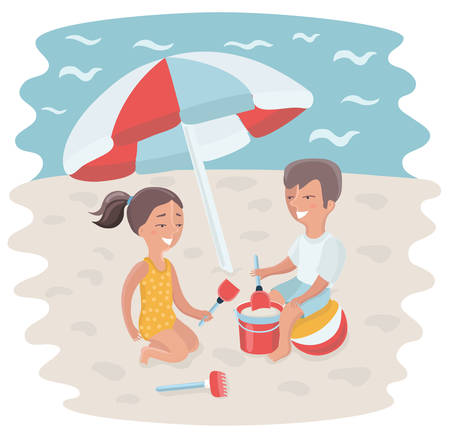 Vector cartoon illustration of Brother and sister making sand castle at seacoast beach under sun umbrella