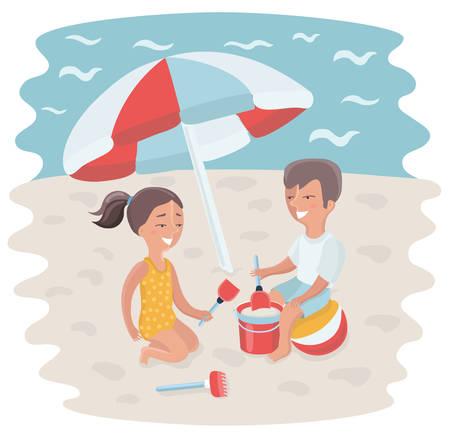 cartoon umbrella: Vector cartoon illustration of Brother and sister making sand castle at seacoast beach under sun umbrella