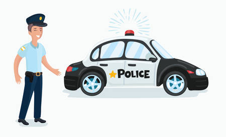 Vector cartoon funny ilustration of a policeman and police car isolated on white background