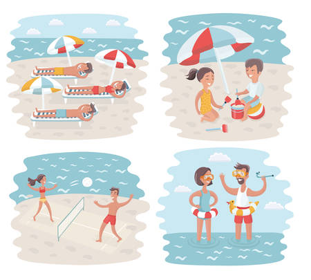 Vector funny illustration of cartoon scenes of Sunny Day in Crowded Beach. Swimming couple, kids play in sand, people laying on sunbeds, play volleyballs on seacoast Illustration