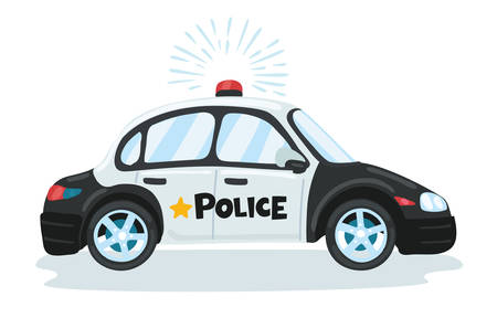 Vector funny illustration of cartoon police moving car with flasher