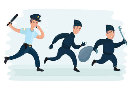 Vector cartoon funny illustration of young police man running chasing thiefes escaping with stolen bag