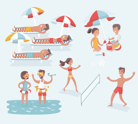 Vector set of cartoon illustration of scene of different people rest on summer beach. Summertime. Isolated Children and adults. Volleyball, swimming and take sunbath, playing in the sand and diving.