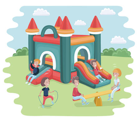 Vector cartoon illustration of Inflatable castle trampoline and playing children. Skipping rope and seesaw Illustration