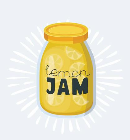 Vector cartoon illustration of lemon jam jars. Isolated On White Background. Hand drawn letterig name on Illustration