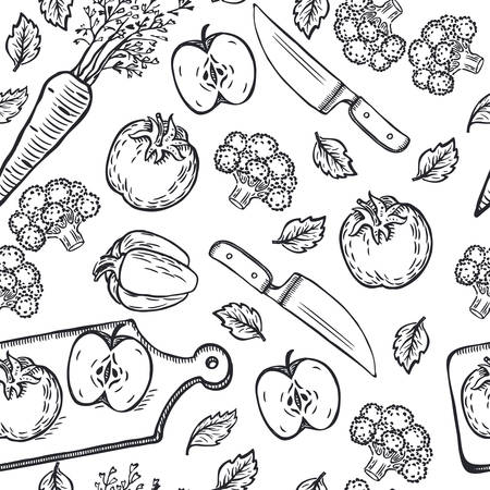 Vector seamless vegetables knives and cutting board background. Black outline freehand hand drawn pattern.