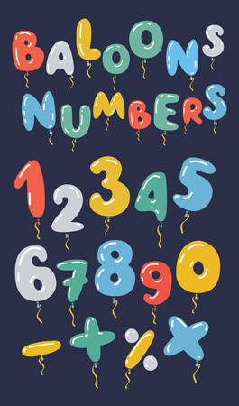 Vector colorful set of balloon shaped numbers in different colors on black background.