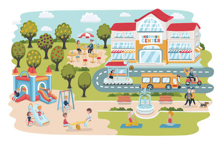 Vector cartoon illustration of town landscape. Elements with people walking playing and ralaxing