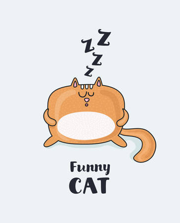 Vector cartoon funny illustration of sleepy fat funny red snoring cat. Isolated object on white background for your design, print or poster