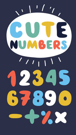 Vector cartoon funny Numbers in different colors on dark background.