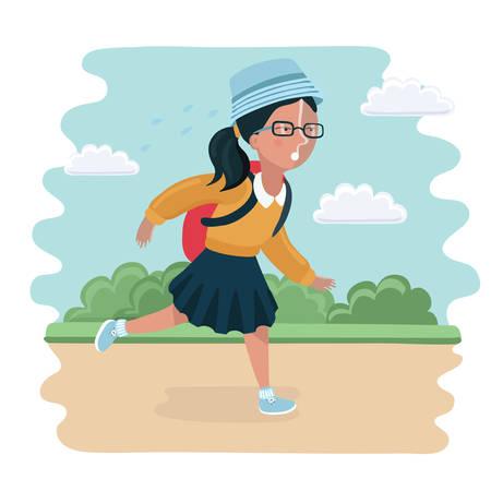 벡터 다시 학교에가 여자의 재미 있은 그림. 그녀는 늦게 서둘러 공원 풍경을 달리고 있었다.
