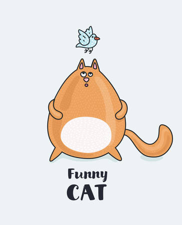 Vector funny catoon fat red cat listening a blue bird. Puzzled look. Pring or poster for your design