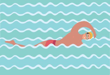 Vector cartoon funny illustration of swimmer man in waves. Swimming style Crawl. Illustration